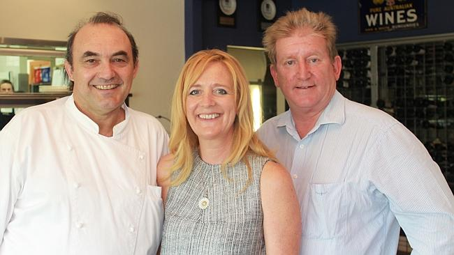 Restaurateur Stefano Manfredi and Bells at Killcare owners Karina Barry and Brian Barry.