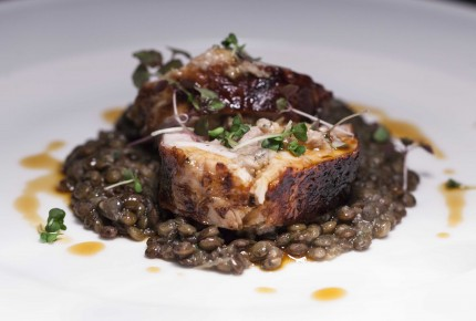Rabbit loin with sage and rosemary, braised lentils