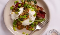 Salad of Buffalo Mozzarella and broad beans with walnut salsa