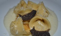 Ricotta Raviolo, Cauliflower Cream and Black Truffles